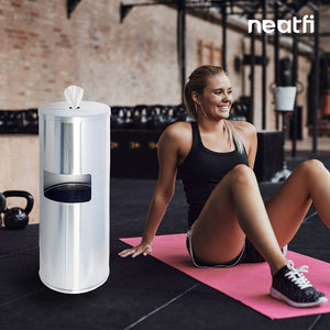 Neatfi Floor Standing Stainless Steel Gym Wipe Dispenser - Plus Wipe Holding Bucket (Silver)