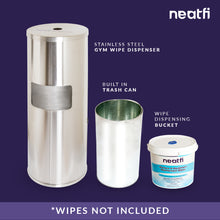Load image into Gallery viewer, Neatfi Floor Standing Stainless Steel Gym Wipe Dispenser - Plus Wipe Holding Bucket (Silver)