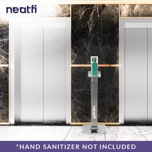 Load image into Gallery viewer, Neatfi Foot Pedal Operated Hand Sanitizer Dispenser Station - with 5 Social Distancing Stickers (Stainless Steel)