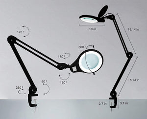 "5"" Wide Lens Bifocals 1,200 Lumens Super LED Magnifying Lamp - Black"