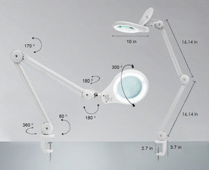 "5"" Wide Lens Bifocals 1,200 Lumens Super LED Magnifying Lamp - White"