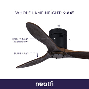 "52"" DC Motor Reversible Low Height Ceiling Fan - Brown"