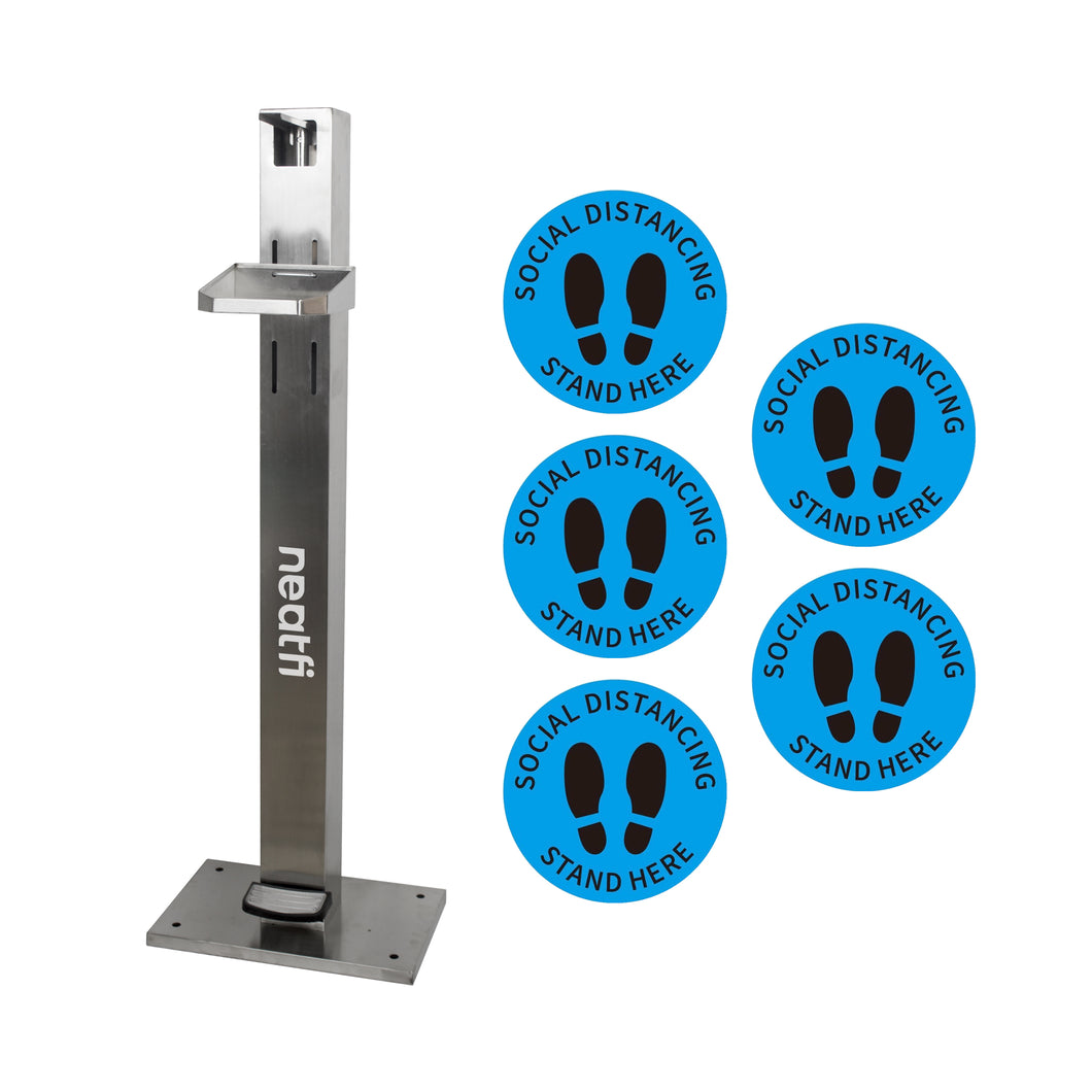 Neatfi Foot Pedal Operated Hand Sanitizer Dispenser Station - with 5 Social Distancing Stickers (Stainless Steel)