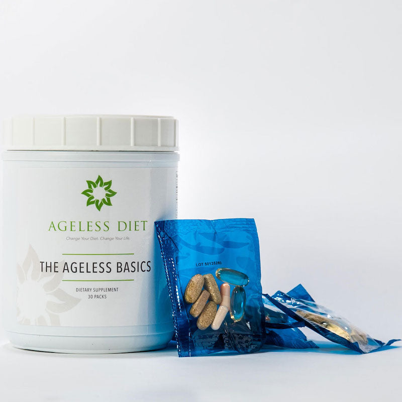 Ageless Basics, all the essentials in one convenient pack for energy and optimal health.