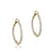14K Yellow gold oval hoop earrings with diamonds
