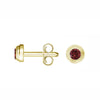 14K YELLOW GOLD GARNET BIRTHSTONE STUD EARRINGS