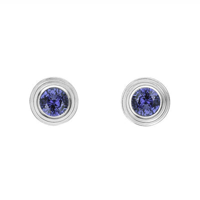 14K WHITE GOLD SAPPHIRE BIRTHSTONE STUD EARRINGS