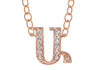 14K ROSE GOLD ARMENIAN INITIAL DIAMOND NECKLACE