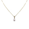 14 KARAT YELLOW GOLD 7MM CULTURED PEARL NECKLACE WITH DIAMONDS