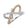 14K WHITE AND ROSE GOLD DIAMOND CROSS ROPE RING