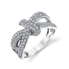 14K WHITE GOLD FASHION LOVE KNOT DIAMOND RING