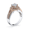 18K TWO TONE DOUBLE HALO DIAMOND ENGAGEMENT RING