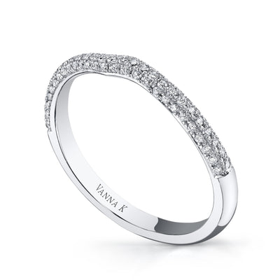 18K WHITE GOLD DIAMOND PAVE CURVED WEDDING BAND