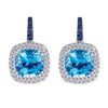 18K WHITE GOLD EARRINGS WITH DIAMONDS SAPPHIRES AND CENTER BLUE TOPAZ
