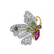 18K TWO TONE BUTTERFLY DIAMOND RUBY AND SAPPHIRE EARRINGS
