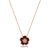 18K Rose gold flower pendant necklace with pink tourmaline and diamonds