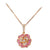 18K ROSE GOLD FLOWER PENDANT NECKLACE WITH DIAMONDS AND SAPPHIRES