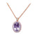 18K ROSE GOLD PENDANT NECKLACE WITH DIAMONDS SAPPHIRES AND AMETHYST