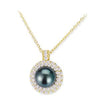 18K YELLOW GOLD PENDANT NECKLACE WITH DIAMONDS AND CENTER PEARL