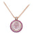 18K ROSE GOLD PENDANT NECKLACE WITH DIAMONDS SAPPHIRES AND ROSE QUARTZ