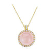 18K YELLOW GOLD PENDANT NECKLACE WITH DIAMONDS AND ROSE QUARTZ