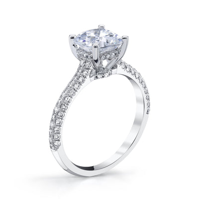 18K WHITE GOLD PAVE CUSHION ENGAGEMENT RING
