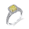 18K WHITE GOLD YELLOW DIAMOND ENGAGEMENT RING