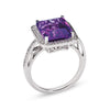 18L WHITE GOLD RING WITH DIAMONDS AND AMETHYST
