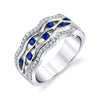 14K WHITE GOLD DIAMOND AND SAPPHIRE FASHION RING