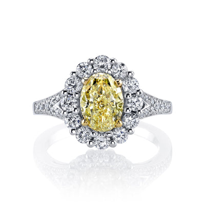 18K YELLOW DIAMOND OVAL ENGAGEMENT RING