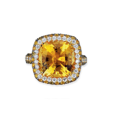18K YELLOW GOLD RING WITH DIAMONDS SAPPHIRES AND CITRINE