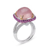 18K WHITE GOLD RING WITH DIAMONDS SAPPHIRE AND ROSE QUARTZ