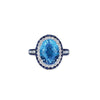 18K WHITE GOLD RING WITH DIAMONDS SAPPHIRES AND BLUE TOPAZ