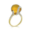 18K YELLOW GOLD RING WITH DIAMONDS AND CITRINE