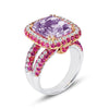 18K WHITE GOLD RING WITH DIAMONDS SAPPHIRES AND KUNZITE