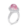 18K WHITE GOLD RING WITH DIAMONDS AND ROSE QUARTZ