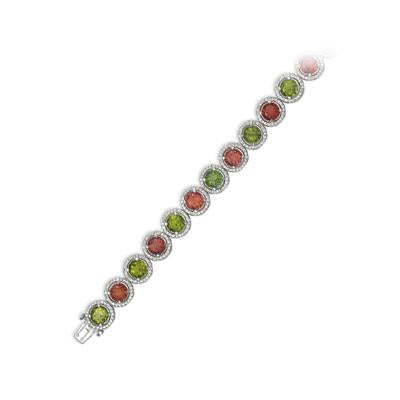 18K WHITE GOLD BRACELET WITH DIAMONDS AND TOURMALINES