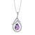 14K WHITE GOLD  DIAMOND NECKLACE WITH DANGLING AMETHYST GEMSTONE