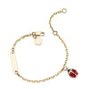 "14K YELLOW GOLD KIDS LADYBUG ID BRACELET 5"" OR 6"""