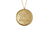 14K YELLOW GOLD 18MM ROUND STAR OF DAVID CHAI MEDAL