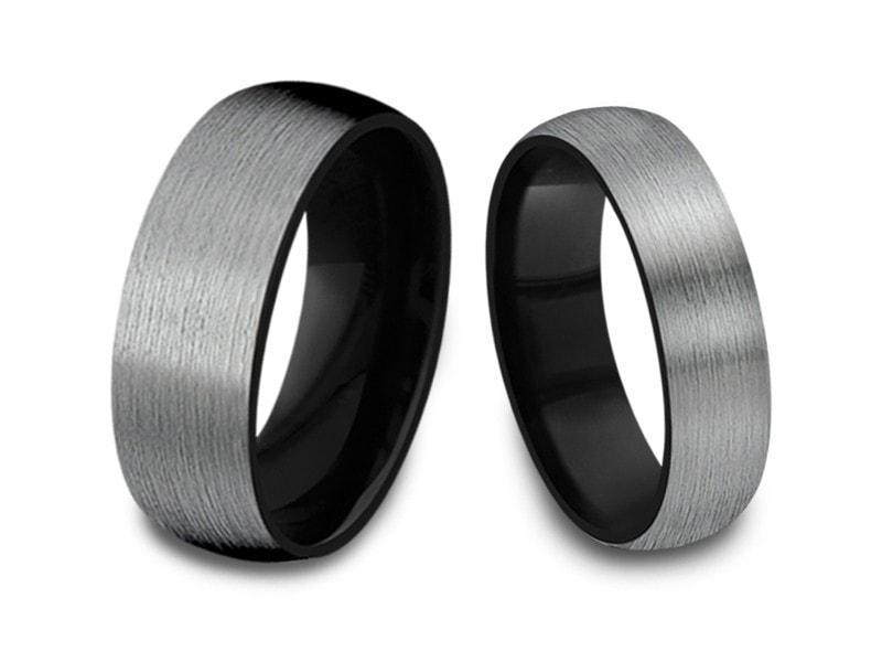 Matching Wedding Band Sets | 6mm 8mm Brushed Gray Gunmetal Tungsten Wedding Band Set Dome And