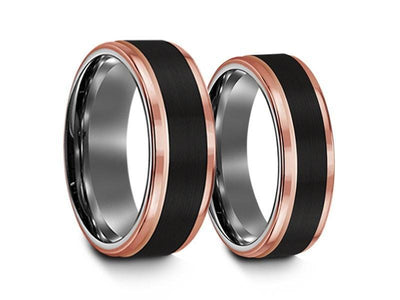 6mm 8mm Brushed Black Tungsten Wedding Band Set Rose Gold Edges And