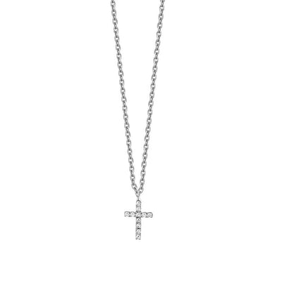 14K WHITE GOLD DIAMOND TINY CROSS NECKLACE
