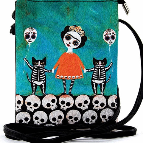 Skeleton Girl With Cats Bag