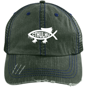 Embroidered Cthulhu Distressed Unstructured Trucker Cap