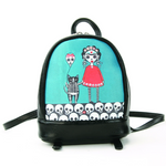Orange Dress Sugar Skull Girl with Cat Balloon Mini Backpack