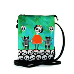 Orange Dress Skeleton Girl with Cats Crossbody