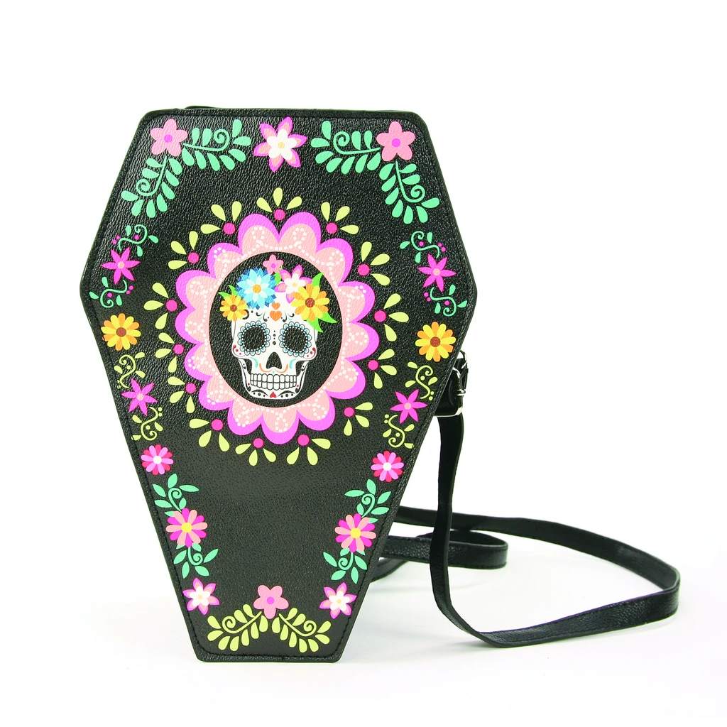 Sugar Skull Coffin Convertible Crossbody Bag/Backpack