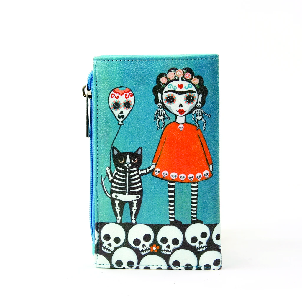 Sugar Skull Girl with Skeleton Earrings & Balloon Cat Wallet