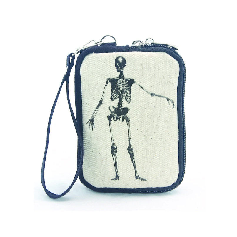 Vintage Print Skeleton Canvas Wristlet